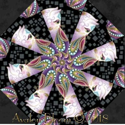 Cat-i-tude Kaleidoscope Quilt Block Kit