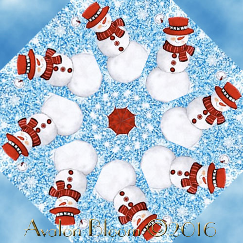 Sweet Season Snowmen Kaleidoscope Quilt Block Kit