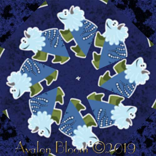 Dino Glow int the Dark Kaleidoscope Quilt Block Kit
