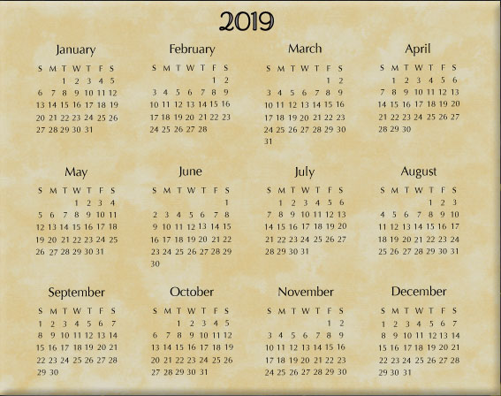 Calendar Wall Hanging 2019  Insert Only