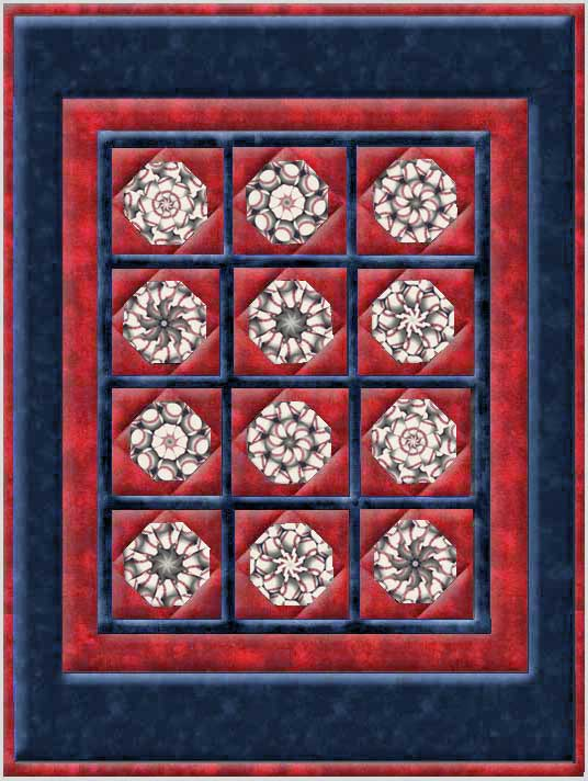 Baseballs Window Pane Lap  Size Kaleidoscope Quilt Kit