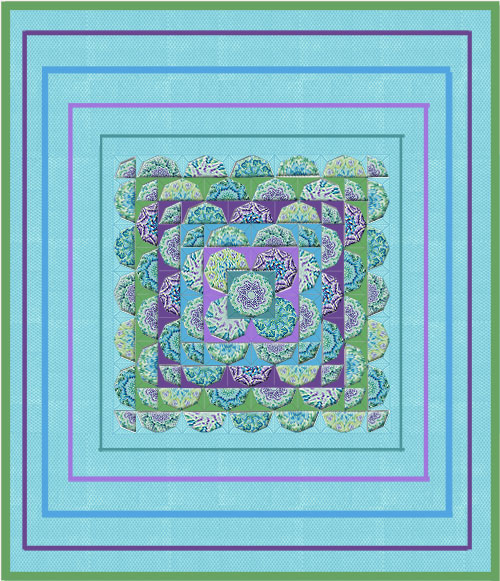 Brassica Green Tapestry Kaleidoscope  Quilt Top Kit