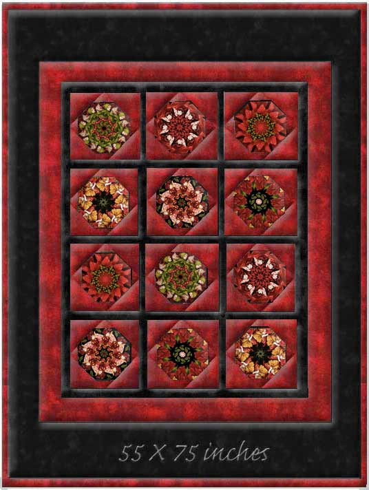Holiday Flower Fairies Window Pane Lap  Size Kaleidoscope Quilt