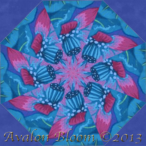 Kaffe Fassett Lake Blossoms Blue Kaleidoscope Quilt Block Kit