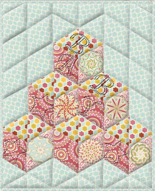 Kumari Garden Tumbling Blocks Kaleidoscope Quilt Kit