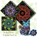 Colorful Bohemian Cats Kaleidoscope Quilt Block Kit