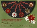 Winte Blossom Ribbons and Ornaments Christmas Tree Skirt