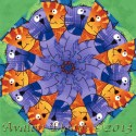 Happy Cats Kaleidoscope Quilt Block Kit