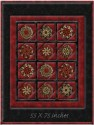 Holiday Flourish 8 Window Pane Lap  Size Kaleidoscope Quilt