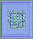 Petunia Delft Tapestry Kaleidoscope  Quilt Top Kit