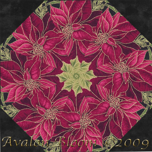 Woodland Poinsettia Splendor Kaleidoscope Quilt Block Kit